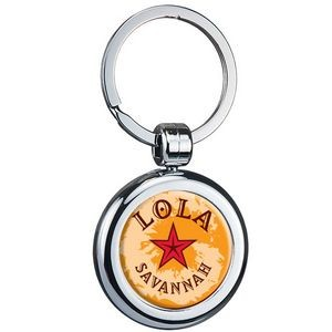 Two Sided Budget Chrome Plated Domed Keytag Round