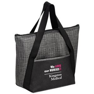 "Insulated Tweed Look Non-Woven Tote w/Insert (14""x11""x5"") - Screen Print"