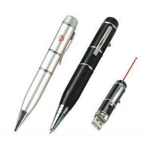 Flash Drive Ball Point Pen w/Laser Light