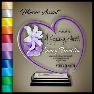 "10"" Heart Clear Acrylic Award, Color Printed in Black Wood Mirror Accented Base"
