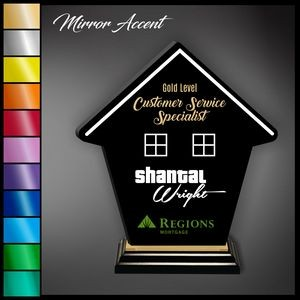 "10"" House Black Acrylic Award with Mirror Accent"