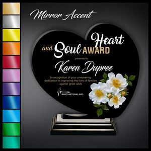 "10"" Heart Black Acrylic Award with Mirror Accent"