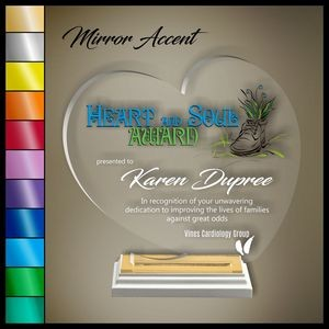 "10"" Heart Clear Acrylic Award, Color Printed in White Wood Mirror Accented Base"