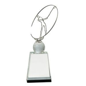 "Crystal Golf Award w/ Silver Metal Oval Figure (10"")"