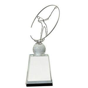 Crystal Golf Award w/ Silver Metal Oval Figure