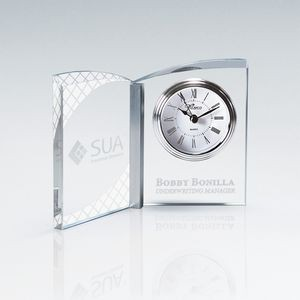 Clear Crystal Book Clock with Aluminum Accent