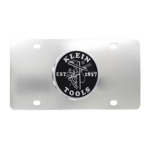 Stainless Steel Mirror Polish License Plate With Round Brass Emblem (Domestic Production)