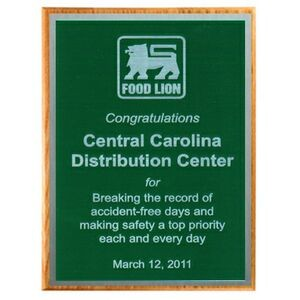 "Solid Oak Plaque with Green Plate & Silver Border (15""x12""x3/4"")"