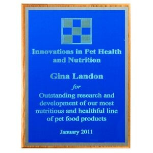 "Solid Oak Plaque with Blue Plate & Silver Border (15""x12""x3/4"")"