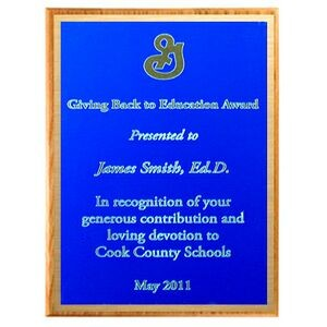 "Solid Oak Plaque with Blue Plate & Gold Border (15""x12""x3/4"")"