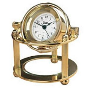 Solid Brass Maritime Desk Clock w/Etched Glass Plate