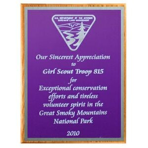 "Solid Oak Plaque with Purple Plate & Silver Border (15""x12""x3/4"")"