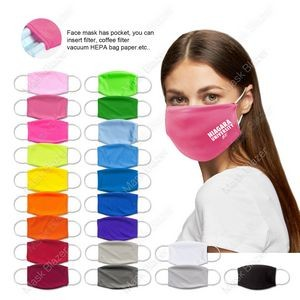 "Free Shipping Pure Color Moisture Wicking Face Mask with Filter Pocket Youth/Adult 6.88"" x 4.72"""