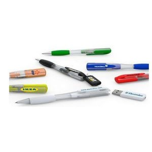 Ballpoint Pen w/Rubberized Grip & Removable 64 MB USB Chip