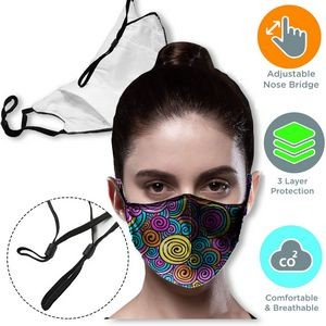 3 layer Face Mask w/ Filter Pocket & Adjustable Loop masks