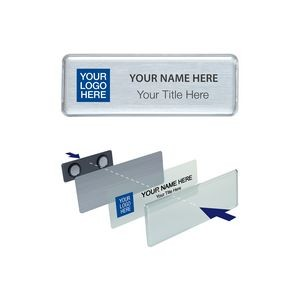 "The Mighty Badge 1"" x 3"" Namebadge Kit-White, Silver or Gold-PIN-Clear Insert Sheet"