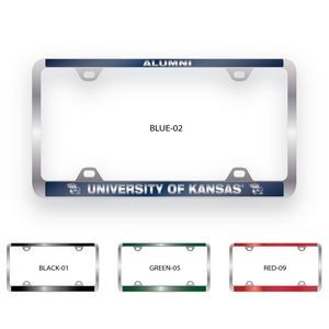 Brushed Zinc & Colored License Plate Frame (Wide Bottom Engraving)