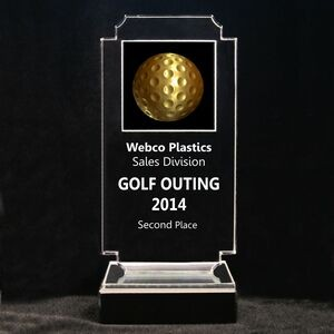 "Acrylic and Marble Engraved Award - 7-3/4"" Full-Color Gold Golf Ball Panel"